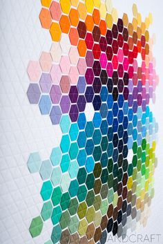 Beyond obsessed with this chick & all of her hexies projects... Modern Handcraft // Geometric Rainbow  - Modern Hexie Quilt