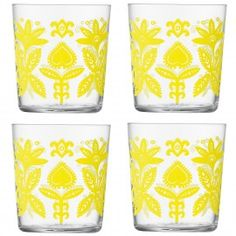 Folklore water glasses. I love drinking out of colorful glasses like these!