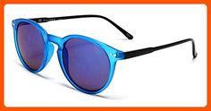 Samba Shades Liz and Rick Classic Round Vintage Wayfarer Sunglasses with with Blue Frame, Blue Lens - Sunglasses (*Amazon Partner-Link)
