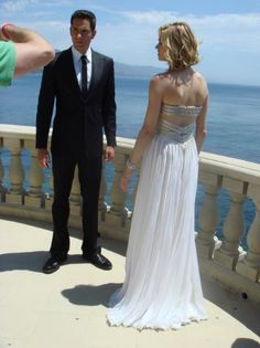 Yvonne Strahovski (and Zachary Levi) from Chuck, wearing Jean Fares.