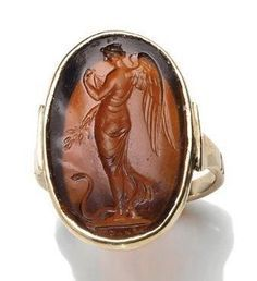 Nike holding a laurel branch and a snake at her feet Antique Necklace, Antique Rings, Vintage Rings, Antique Jewelry, Vintage Jewelry, Cameo Jewelry, Jewelry Art, Jewelry Design, Roman Jewelry