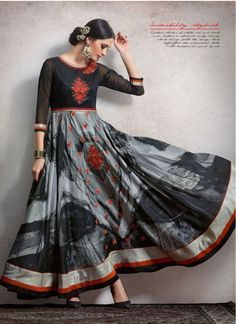 Especial Silk Lace Black and Grey Trendy Anarkali Suit