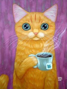 HOT TEA Art Print - cat drinking tea by Cary Chun Lee