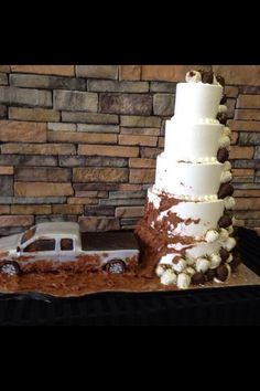 Truck groom's cake and wedding cake