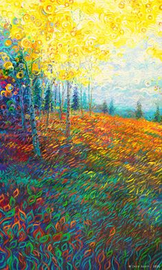By Iris Scott | oil on canvas | finger painting | originals and prints | www.IrisScottFineArt.com | #equilibrium #landscape #nature #yellow #leaves #trees #sky #grass #circles pinetrees #fingerpainting #oilpainting #painting #fineart #impressionism #IrisScott