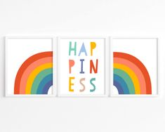 This happiness rainbow set of 3 wall art prints is the perfect fun and colorful kids room decor, kid bedroom decor, or nursery art! Yellow Nursery Decor, Rainbow Nursery Decor, Nursery Decor Boy, Boys Room Decor, Playroom Decor, Playroom Ideas, Nursery Wall Art, Girl Nursery, Nursery Ideas
