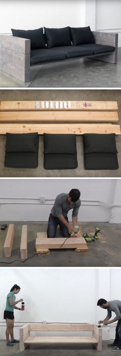 20 diy furniture and woodworking projects 2019 DIY sofa ideas diy sofa plans. You need: wood glue Ikea pillows steel corners The post 20 diy furniture and woodworking projects 2019 appeared first on Sofa ideas. Ikea Patio Furniture, Diy Outdoor Furniture, Couch Furniture, Diy Furniture Projects, Woodworking Projects Diy, Cheap Furniture, Rockler Woodworking, Furniture Movers, Woodworking Classes