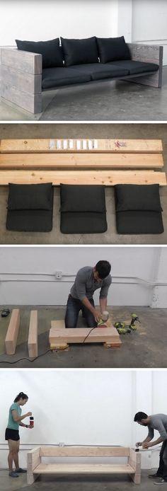 DIY sofa ideas - diy sofa plans. You need: wood, glue, Ikea pillows, steel corners