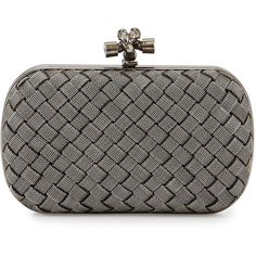Bottega Veneta Metal Intrecciato Knot Frame Clutch Bag ($3,830) ❤ liked on Polyvore featuring bags, handbags, clutches, silver, purse, bottega veneta, metal mulisha purse and woven handbag