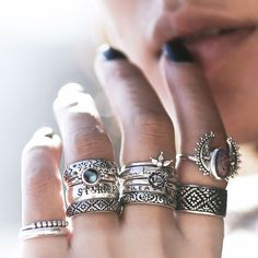 ❉ Bohemian Shop Dixi Rings from our Sunset Lovers collection in store now! ❉ ✒ Shop The Magic Now @ www.shopdixi.com // boho // bohemian // jewellery // jewelry // grunge // witchy // thumb // sterling silver // ring // hippie // summer // ocean // beach // moonstone // sunrise // sunshine // wave // gypsy // ocean // summer // lookbook