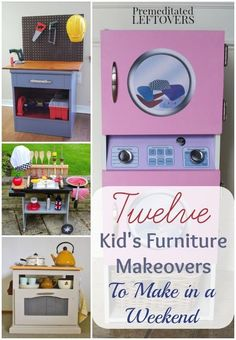 Kid's Furniture Makeovers- Play furniture for kids is a fun way to recycle old furniture. These tutorials include DIY kitchens, activity tables, and more.Informations About Kid's Furniture Makeovers- Play furniture for kids is a fun way to Diy Kids Furniture, Old Furniture, Refurbished Furniture, Repurposed Furniture, Furniture Makeover, Furniture Stores, Furniture Online, Discount Furniture, Furniture Websites