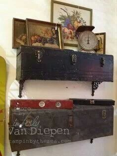 Old box/trunk/suitcase repurposed as shelf