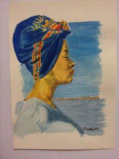 Negona com turbante - Luciene Aquarela 8/10 - 15x10cm