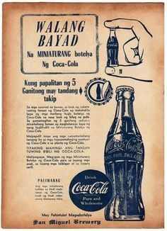 line Vintage Signs, Vintage Ads, Vintage Posters, Retro Ads, Vintage Coca Cola, Coca Cola Ad, Filipino Art, Filipino Culture, Print Advertising