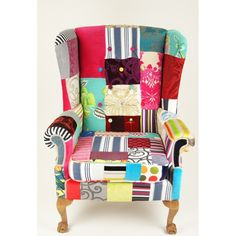 Kelly Swallow Grand wing back patchwork chair Decoupage Furniture, Funky Furniture, Upholstered Furniture, Home Furniture, Wingback Chair, Armchair, Chair Upholstery, Patchwork Chair, Funky Chairs