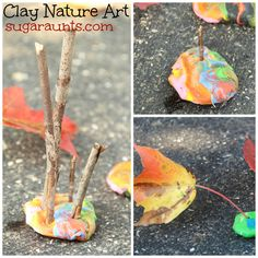 Fall Fun! Create nature art sculptures in your backyard. Great for tripod grasp, resistive hand strengthening, and creativity. #finemotor #outdoorplay #fall