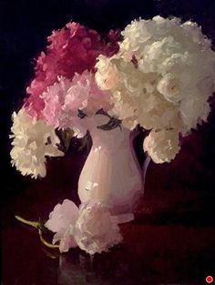 Peony Extravagance by Dennis Perrin Oil ~ 24 x 18