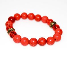 Red Turquoise With Copper Rhinestone Bracelets