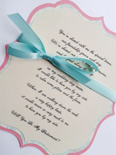 Will You Be My Bridesmaid - Will You Be My Maid of Honor - Will You Be My Flower Girl - Poem Card. $8.00, via Etsy.