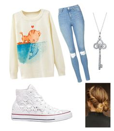 """""""School day"""" by pam-casner ❤ liked on Polyvore featuring Topshop, Bling Jewelry and Converse"""