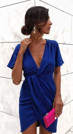 #fall #outfits  women's blue plunging neckline dress