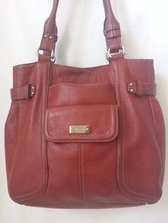 Tignanello Red Leather Shoulder Bag Purse - Large  #Tignanello #ShoulderBag