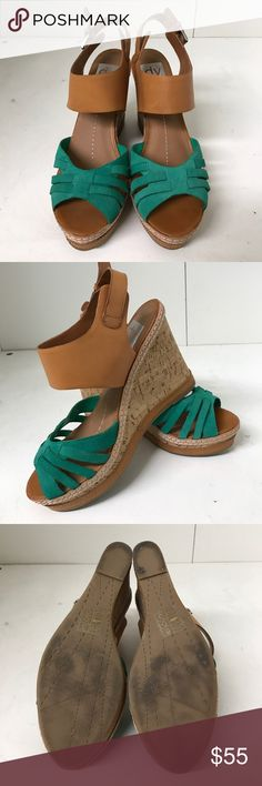 DV Dolce Vita Wedges Slightly used for indoor photo shoots. DV by Dolce Vita Tan and Aqua Green Sandal Wedges with silver ankle buckle and exquisite White threading along cork wedge. Perfect for summer weddings! Dolce Vita Shoes Wedges
