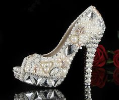 Peeptoe+Waterproof+highheeled+Pearl+diamond+by+BubbleJewelry4You,+$299.00