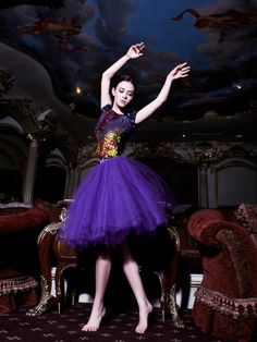 The Princess of Couturia lived in a castle far far away and although she loved to wear her fluffy Lloyd Klein Royal Purple Tulle Party Skirt made with over 30 meters of wispy crinoline and hand her painted fully embroidered t-shirt, she never wore shoes because she was after all the most important Couturian in all of Fashion Land - and she loved to be barefoot.  Photo- Robert Voltaire, Model -Alex Abercrombie, Fashion by Lloyd Klein