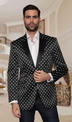 SKU#RM1616 Mens Floral Sateen Unique Paisley Sport Coat Sequin Shiny Flashy Silky Satin Stage Fancy Stage Party Two Toned Blazer / Sportcoat / Mens Jacket / Dinner Jacket Black with White