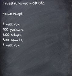 CrossFit home WOD- cut everything in half except for the running.