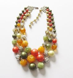 Triple Strand Beaded Bib Necklace Vintage Earth Tone by artsix