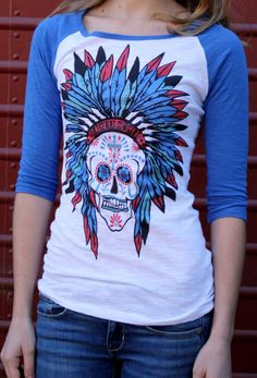 Sugar Skull Blue Burnout Baseball tee indian by OriginalCowgirl, $34.99