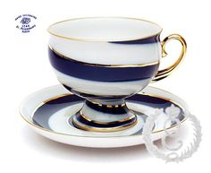 porc__Picture of Spiral Cup and Saucer_Russian Imperial Lomonosov Porcelain Manufactory