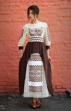 Buy Linen long dress with embroidery author Folk Fashion, Ethnic Fashion, Womens Fashion, Modest Fashion, Hijab Fashion, Fashion Dresses, Traditional Fashion, Traditional Dresses, Mode Alternative