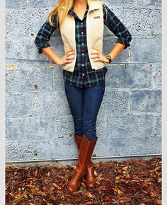 Plaid for fall style - love the layering with the vest - I need these tan riding boots!