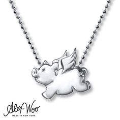 Although pigs are cute when dripping in mud, the Signs Flying Pig in this sterling silver necklace by Alex Woo is covered in nothing but sparkle and shine. Heartfelt and genuine, pigs are intelligent, well-mannered, perfectionists who always enjoy a good book. The charm sways from a 16-inch beaded chain that secures with a lobster clasp.