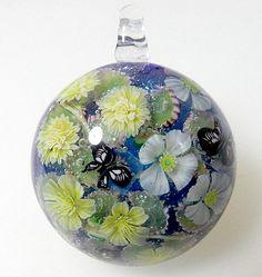Three Kinds of Kerria Flower & Butterfly Satake Glass Lampwork Flower Pendant sra by AyakoGlassGarden on Etsy