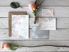 Vintage Style Unique Rose Wedding Invitations - Grey and Salmon Peach via Etsy