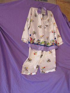 Vintage Retro Disney Mickey Mouse Silk Pajamas Long Sleeve Button Down 2 piece #Unbranded #PajamaSets