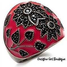 Antique Silver Flower CZ Dome Ring Black Red Enamel Size 5-9 #Unbranded #FashionRightHand
