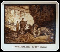 """""""#Cerbero"""", #Illustrazione #Inferno di #Dante di Simone Naldini #artigianato #pirografia #DivinaCommedia http://omaventiquaranta.blogspot.it/2013/11/linferno-dantesco-di-simone-naldini.htm"""