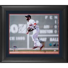 "Dustin Pedroia Boston Red Sox Fanatics Authentic Framed Autographed 16"" x 20"" 2013 World Series Champions Green Monster Photograph"