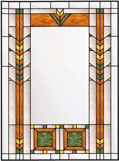 Vertical Stained Glass window With Inner Border and Textured Background