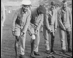 The British Government has announced that all wounded veterans will get the most advanced artificial limbs. This film in the archive shows artificial limbs of the past. First World War amputees practice with their new prosthetics: 1916 film.