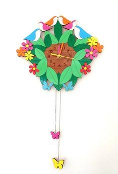 Bright & Beautiful cuckoo style clock - by ikandi11 on madeit