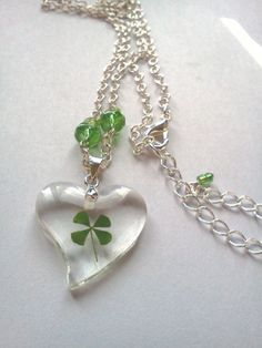 Lucky Four Leaf Clover Resin Necklace by PinkCupcakeJC on Etsy, $10.00