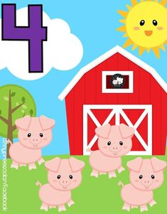 Educational Activities For Kids, English Activities, Math Activities, Learning Numbers, Math Numbers, Farm Animal Crafts, Farm Animals, Classroom Calendar, Baby Learning