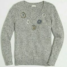LAST CHANCE  j crew// jeweled donegal sweater Look cute and cozy in this warm donegal sweater. No wardrobe is complete without a couple jeweled sweaters. NWT. From factory. J. Crew Sweaters Crew & Scoop Necks