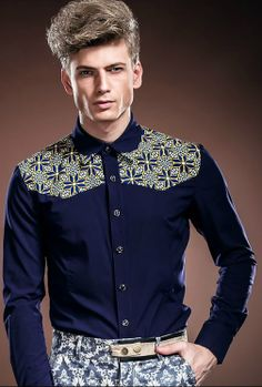 Royal wind 2014 new men spring summer fasion italian style blue print patchwork long-sleeve shirt formal shirt large size